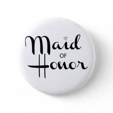 Maid of Honor Retro Script Pinback Button