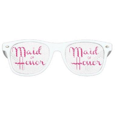 Maid of Honor Retro Script Pink Retro Sunglasses