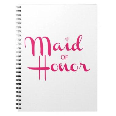 Maid of Honor Retro Script Pink Spiral Notebook