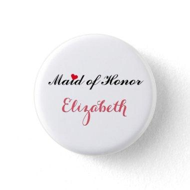 Maid of Honor Wedding Bridal Bachelorette Party Pinback Button