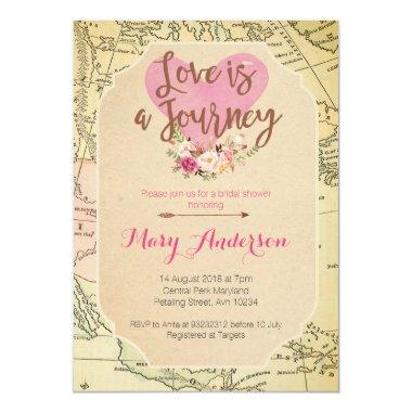 Map Travel Bridal Shower Invitations