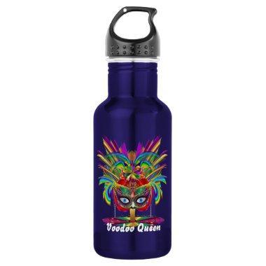 Mardi Gras Voodoo Queen Dark Text Stainless Steel Water Bottle
