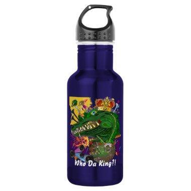 Mardi Gras Who Da King Louisianan White Text Stainless Steel Water Bottle