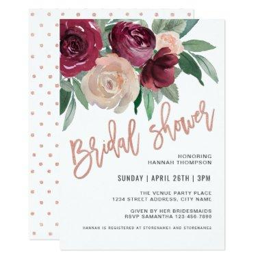 Marsala and Pale Pink Floral Bridal Shower Invitations