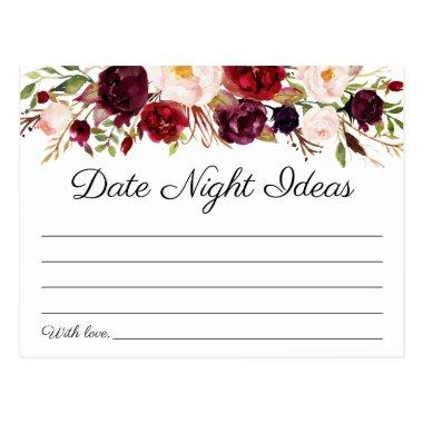 Marsala and Pink Floral Date Night Ideas Invitations