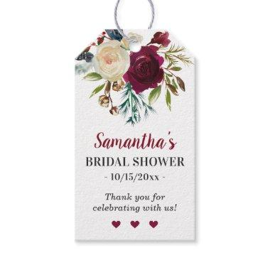Marsala Burgundy Floral Bridal Shower Guest Favor Gift Tags