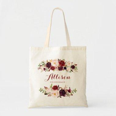 Marsala burgundy floral Bridesmaid Personalized Tote Bag