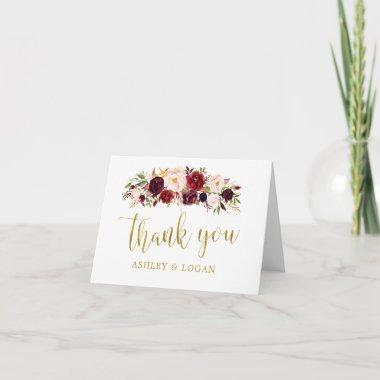 Marsala Floral Gold Autumn Wedding Thank You Invitations