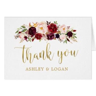 Marsala Floral Gold Autumn Wedding Thank You