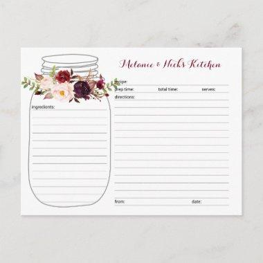 Marsala Floral Mason Jar Newlywed Recipe Invitations
