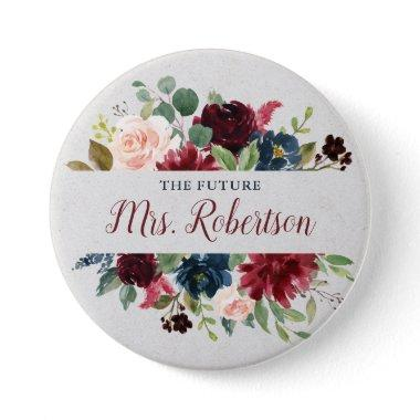 Marsala & Navy Floral Personalized Future Mrs Button