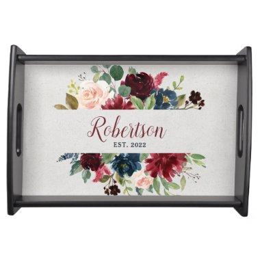 Marsala & Navy Shabby Chic Floral Family Party Serving Tray