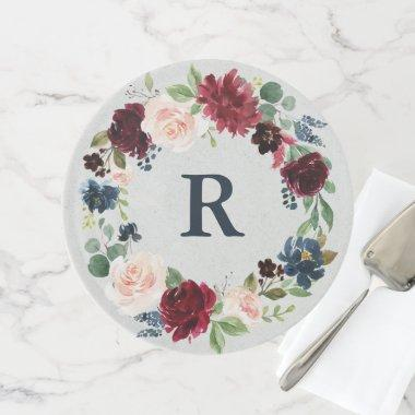 Marsala & Navy Shabby Chic Floral Mr & Mrs Wedding Cake Stand