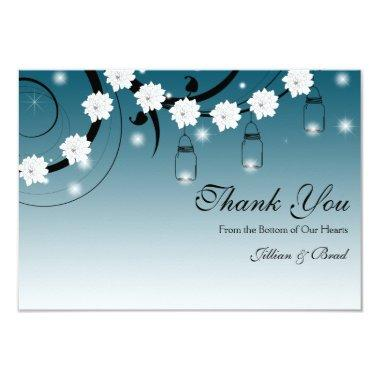 Mason Jar and Fireflies Thank You Invitations - Blue