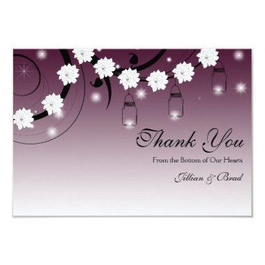 Mason Jar and Fireflies Thank You  - Plum