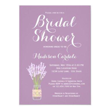 Mason Jar and Lavender Bridal Shower Invitations
