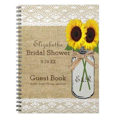 Mason Jar and Sunflower  Guest Book |
