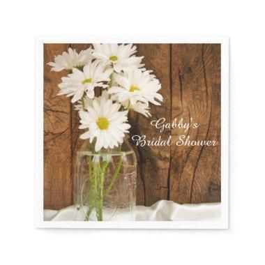Mason Jar and White Daisies Country Bridal Shower Paper Napkin