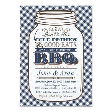 Mason Jar BBQ , Couples Shower Navy Blue