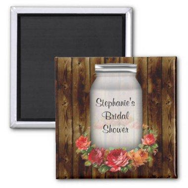 Mason Jar Flower Wreath Bridal Shower Magnet