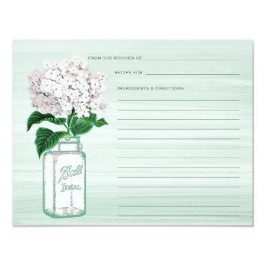 Mason Jar & Hydrangea Mint Green Recipe Invitations