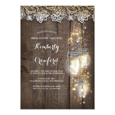 Mason Jar Lights and Lace Rustic Bridal Shower Invitations