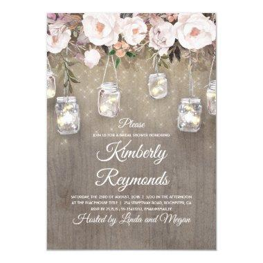 Mason Jar Lights Floral Rustic Bridal Shower Invitations
