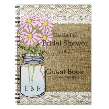 Mason Jar Pink Flowers  Guest Book |