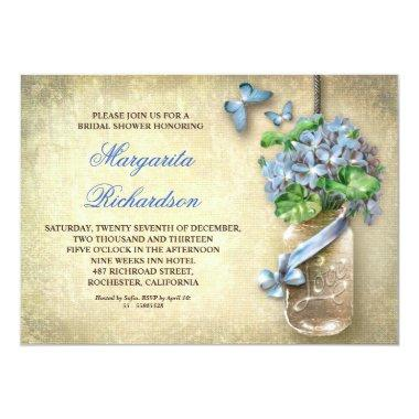 mason jar rustic aged floral bridal shower invites