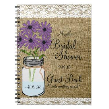 Mason Jar Rustic Country- Guest Book- Notebook