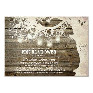 Mason Jar String Light Bridal Shower Barn Wood Invitations