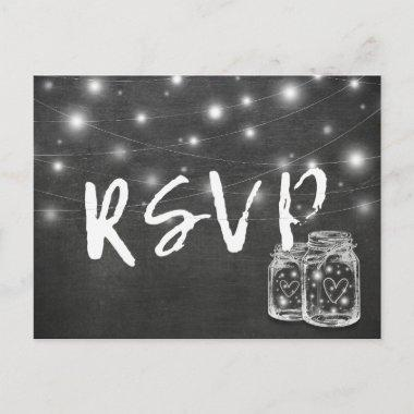 Mason Jar & String Lights Chalkboard Wedding RSVP Invitation PostInvitations