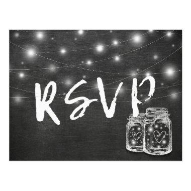 Mason Jar & String Lights Chalkboard Wedding RSVP Post