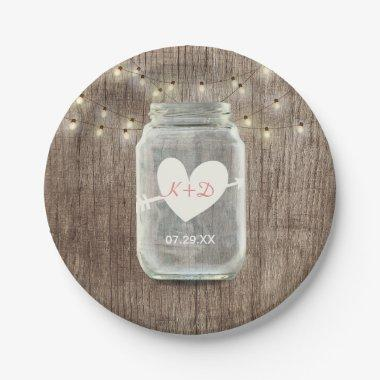 Mason Jar & String Lights Rustic Barn Wood Wedding Paper Plate