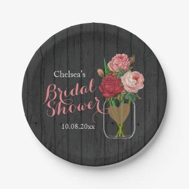 Mason Jar Stylish Rose  Design Paper Plate