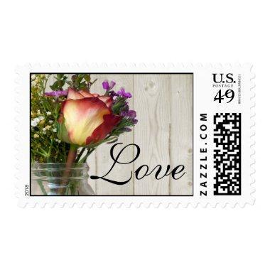 Mason Jar w/Rose and Wildflowers Love Postage