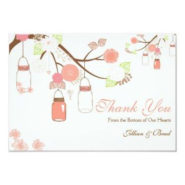 Mason Jar Wedding Thank You Invitations- Coral and White Invitations