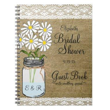 Mason Jar White Flowers  Guest Book |