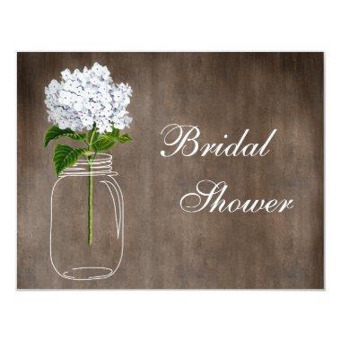 Mason Jar & White Hydrangea Rustic