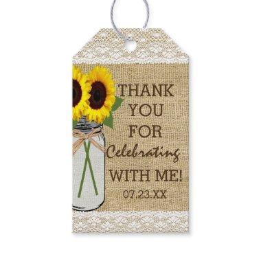 Mason Jar with Sunflowers  Gift Tags