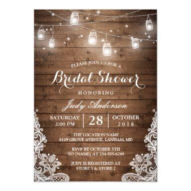 Mason Jars Lights Rustic Wood Lace Bridal Shower Invitations