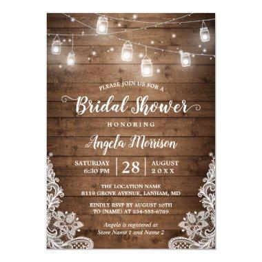 Mason Jars String Lights Rustic Lace Bridal Shower Invitations