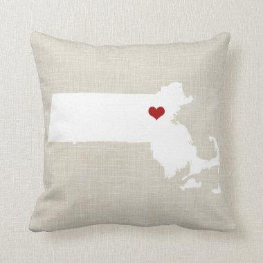 "Massachusettes New Home State Pillow 16"" x 16"""
