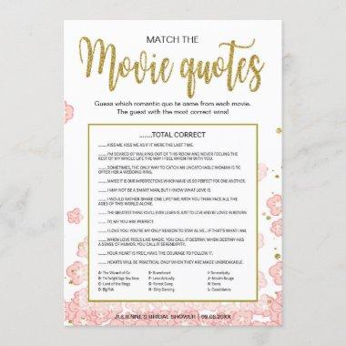 Match the Movie Quotes Game | Pink and Gold Glitte