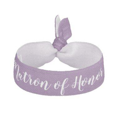 Matron of Honor Purple White Wedding Party Gift Elastic Hair Tie
