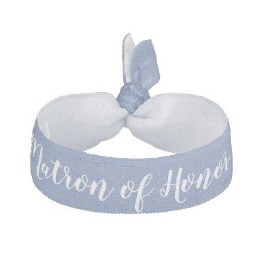 Matron of Honor Something Blue White Wedding Party Elastic Hair Tie