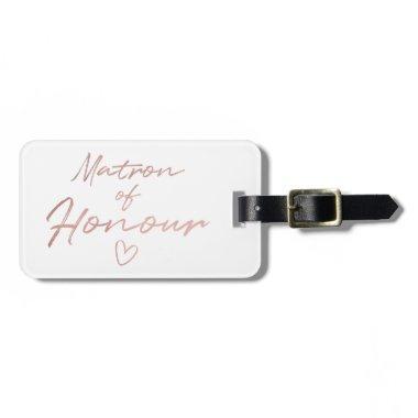 Matron of Honour - Rose Gold faux foil Bag Tag
