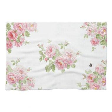 May Day Summer Roses bleached Linen Towel