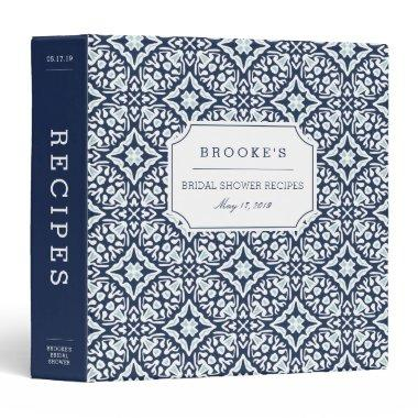 Mediterranean Navy and White  Recipe 3 Ring Binder