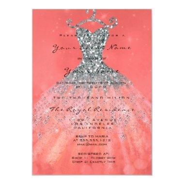 Mermaid Dress Glitter Bridal 16th Coral Silver
